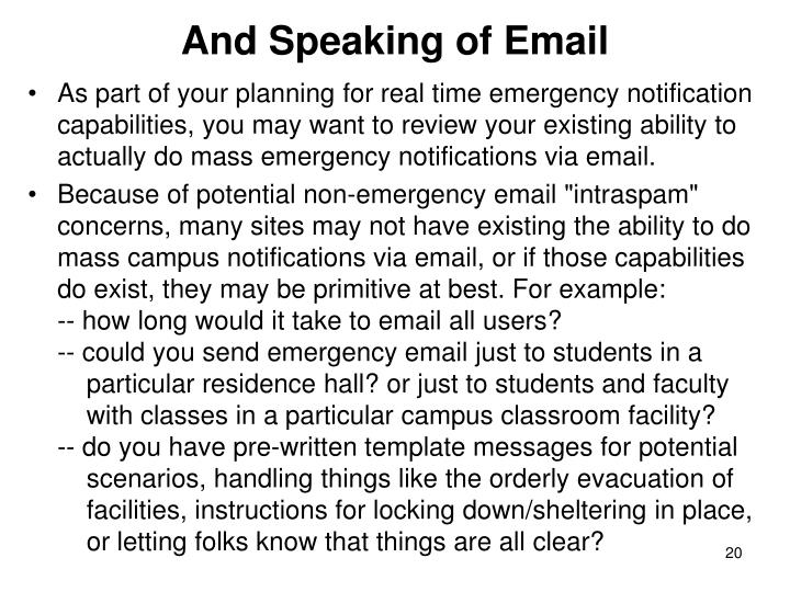 And Speaking of Email