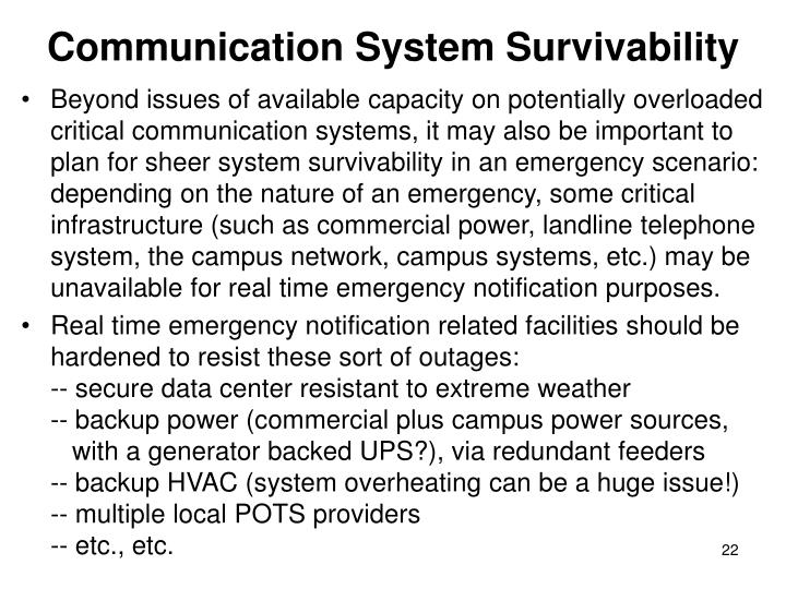 Communication System Survivability