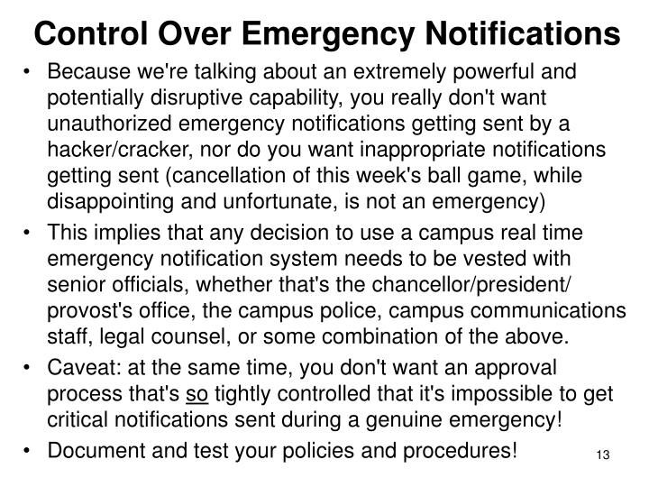 Control Over Emergency Notifications
