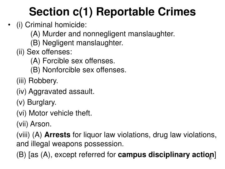 Section c(1) Reportable Crimes