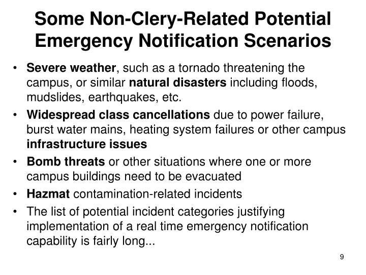 Some Non-Clery-Related Potential Emergency Notification Scenarios