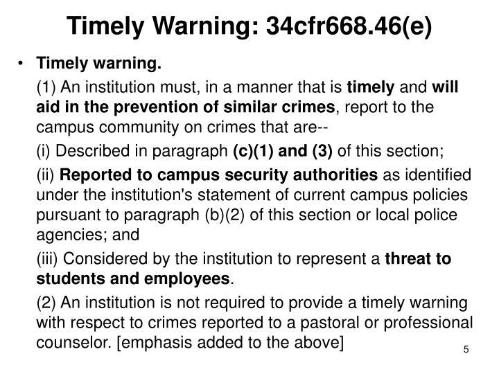 Timely Warning: 34cfr668.46(e)