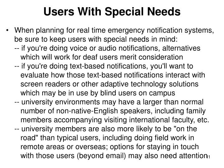 Users With Special Needs