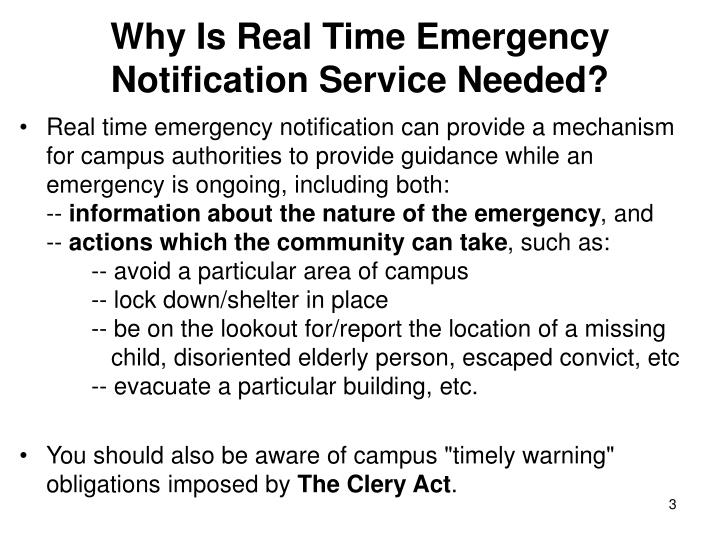 Why is real time emergency notification service needed