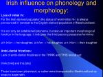 irish influence on phonology and morphology