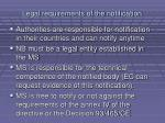 legal requirements of the notification