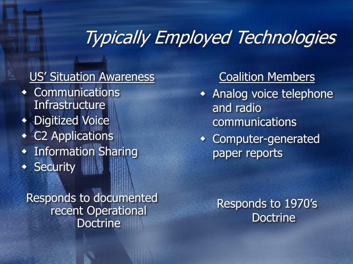 Typically employed technologies