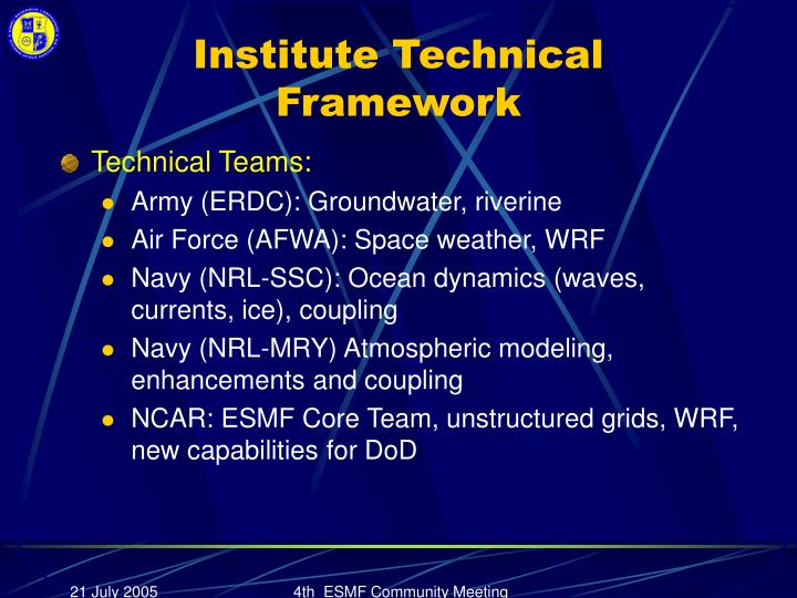 Institute Technical Framework