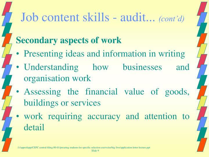 Job content skills - audit...