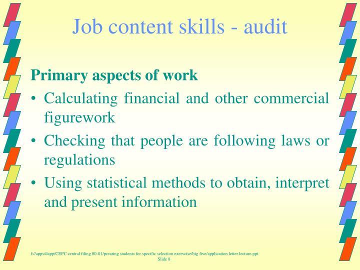 Job content skills - audit