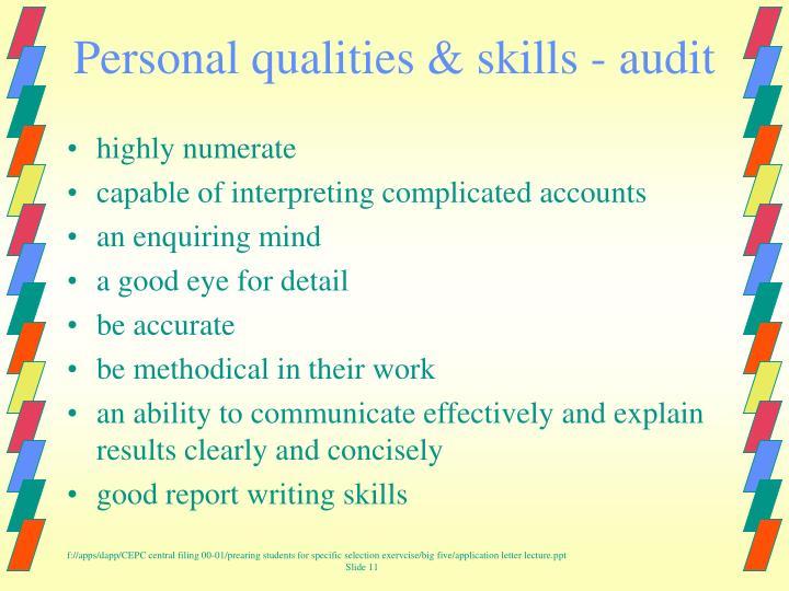 Personal qualities & skills - audit