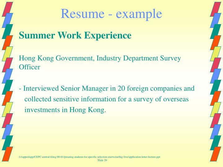 Resume - example