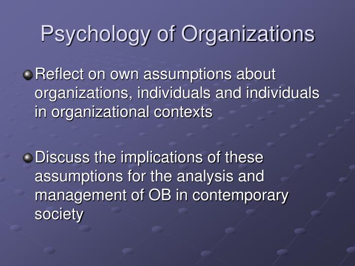 Psychology of organizations