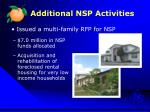 additional nsp activities