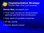 implementation strategy fannie mae first look process