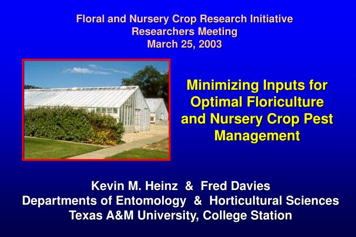 minimizing inputs for optimal floriculture and nursery crop pest management n.
