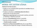 program mensa ntc sistem u enja