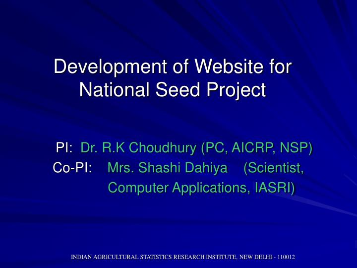 development of website for national seed project n.
