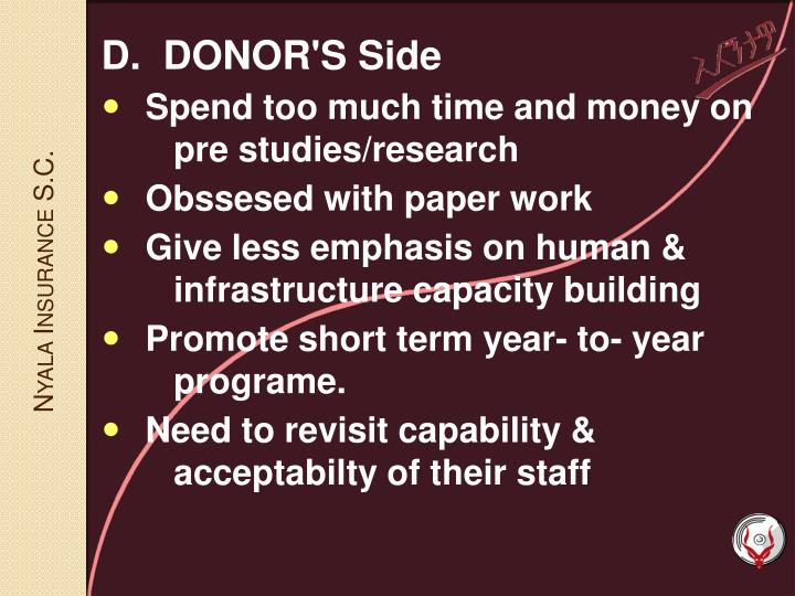 D.  DONOR'S Side