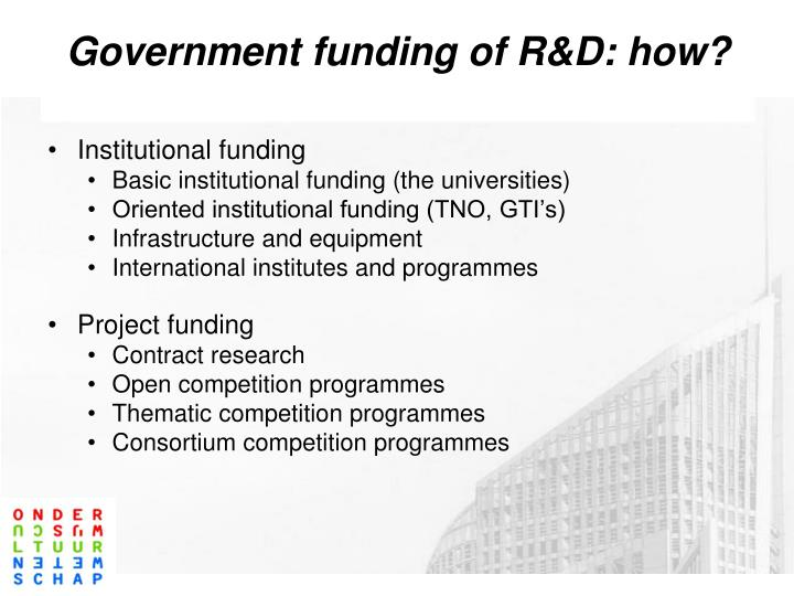 Government funding of R&D: how?