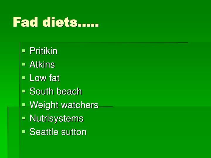 Fad diets…..