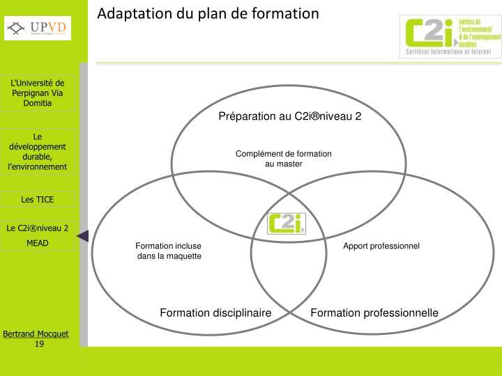 Adaptation du plan de formation