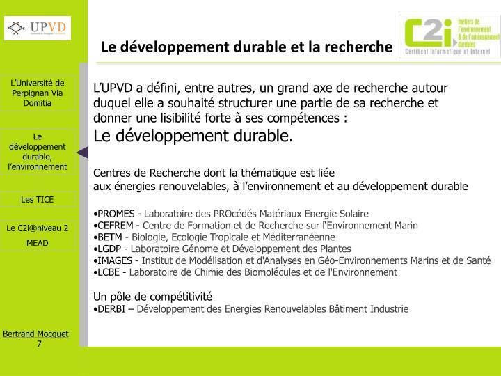Le développement durable et la recherche