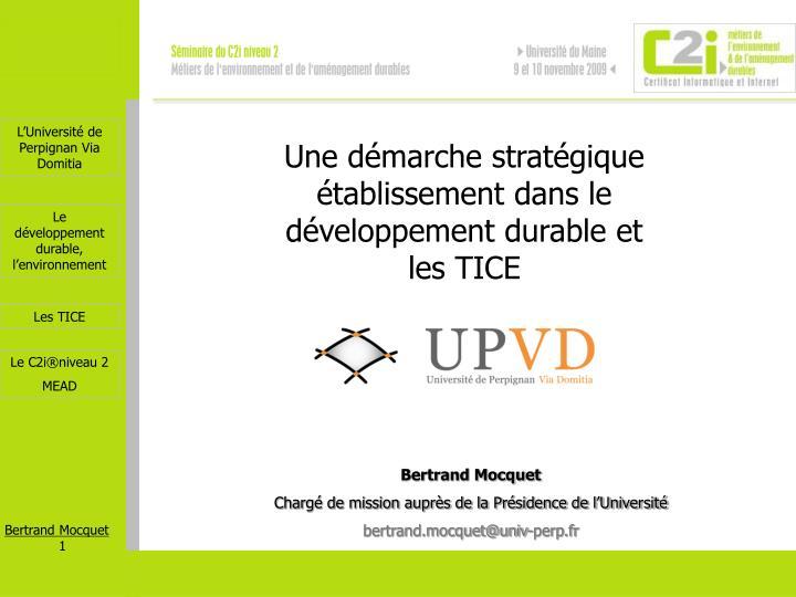 Une démarche stratégique établissement dans le développement durable et les TICE