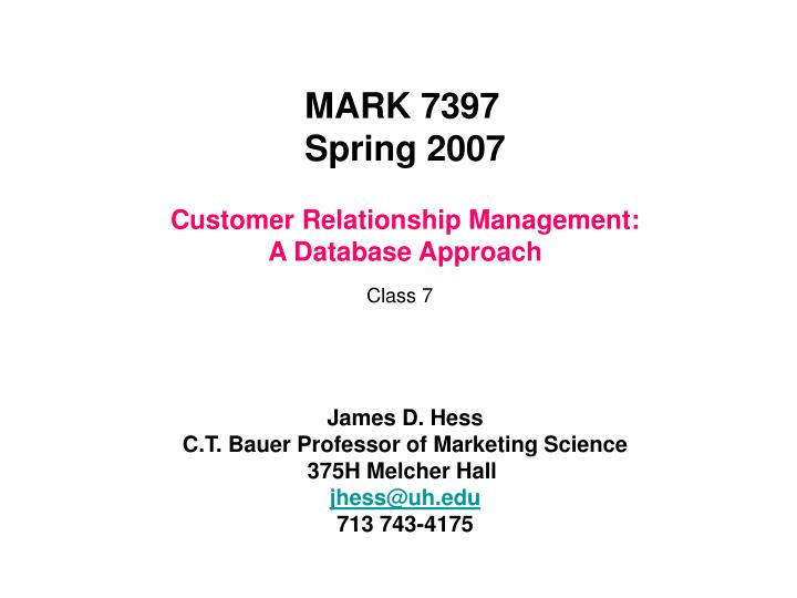 customer relationship management a database approach n.
