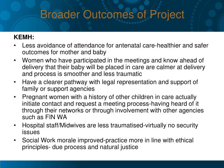 Broader Outcomes of Project