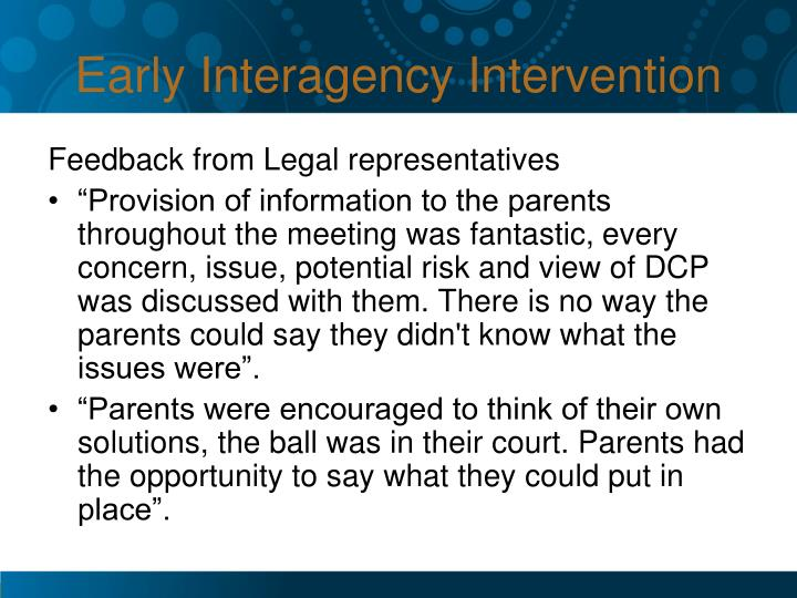 Early Interagency Intervention