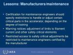 lessons manufacturers maintenance