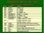 instruction set for our von neumann machine