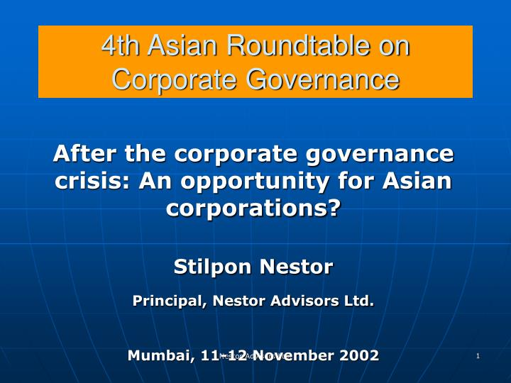 4th asian roundtable on corporate governance n.