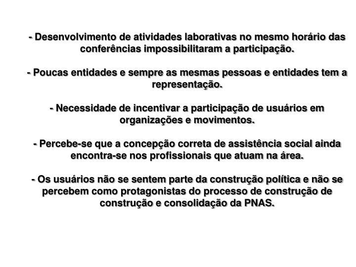 - Desenvolvimento de atividades laborativas no mesmo horário das conferências impossibilitaram a participação.