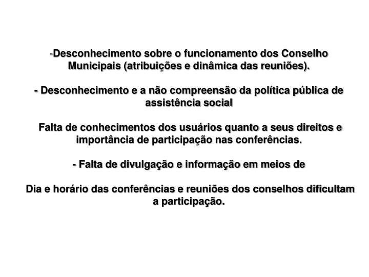 Desconhecimento sobre o funcionamento dos Conselho Municipais (atribuições e dinâmica das reuniões).