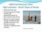 arm field research sites high latitudes north slope of alaska