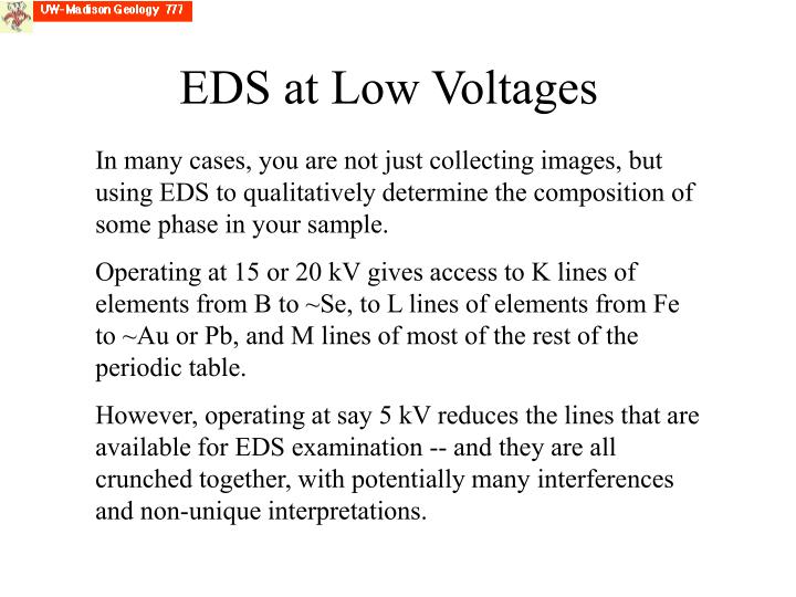 EDS at Low Voltages