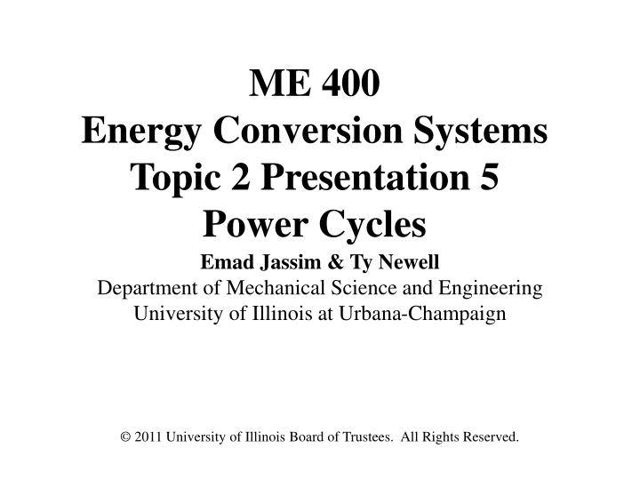me 400 energy conversion systems topic 2 presentation 5 power cycles n.