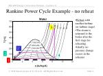 rankine power cycle example no reheat