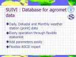 suivi database for agromet data
