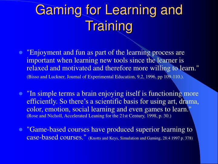 gaming for learning and training n.