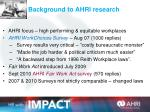 background to ahri research