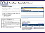 topic four items to be shipped