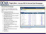 topic one access sir 2 0 internal user homepage