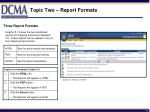 topic two report formats