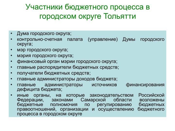 Участники бюджетного процесса в городском округе Тольятти