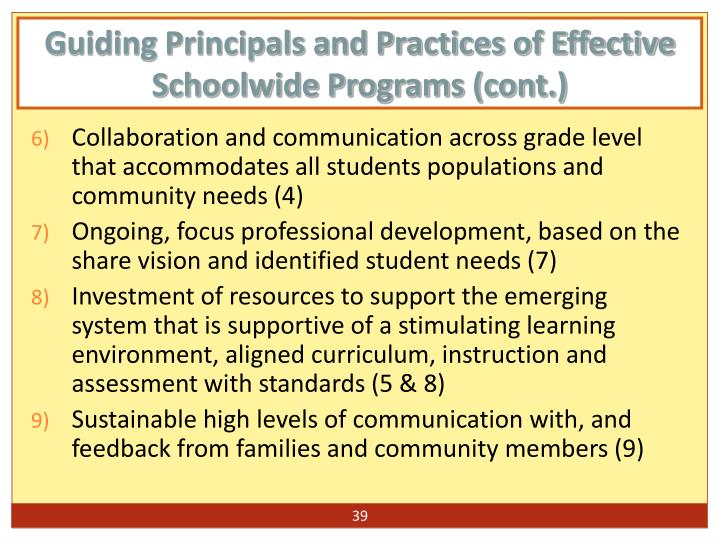 Guiding Principals and Practices of Effective Schoolwide Programs (cont.)