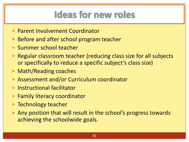 Ideas for new roles