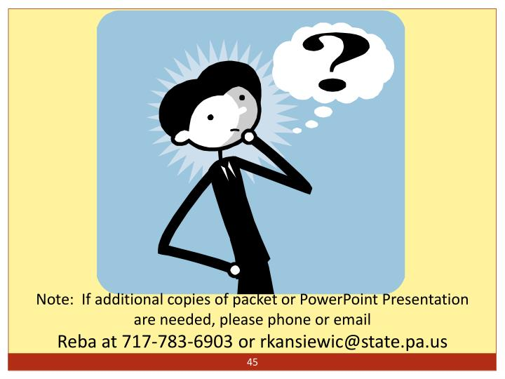 Note:  If additional copies of packet or PowerPoint Presentation